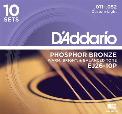 D'Addario EJ26-10P Custom Light 11-52 10-Jeux