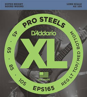 D'Addario ProSteels EPS165, Custom Light, 45-105, cordes longues