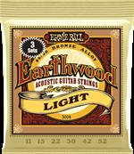 ERNIE BALL CORDES ACOUSTIQUES Earthwood 80/20 bronze light 11-52 - pack de 3 3004