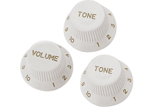 Yellow Parts BOUTONS DE REGLAGES Boutons de potentiomètre type Stratocaster® blanc - lot de 3 EZ1215W