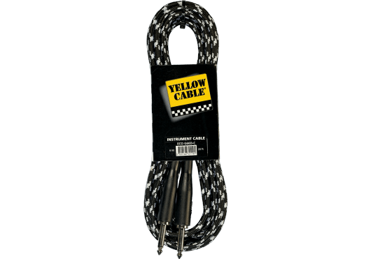 Yellow Cable Cable Instrument Cordon jack jack gaine tressée gris noir