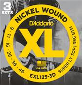 D'Addario EXL125-3D, Super Light Top/Regular Bottom, 9-42, 3 Jeux