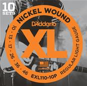 D'Addario EXL110-10P XL Nickel Wound Tirant Regular Light (.010-.046) 10 Jeux