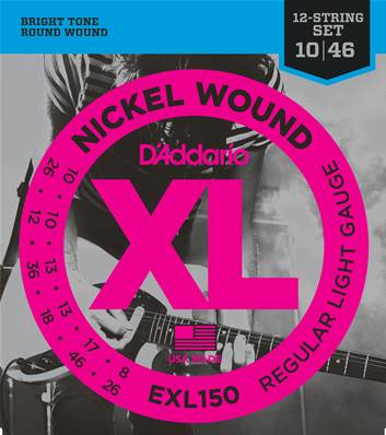 D'Addario EXL150, 12 cordes, Regular Light, 10-46